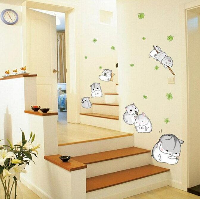 兒童房可愛動物牆貼紙臥室床頭背景貼畫幼兒園樓梯玻璃裝飾小鼠貓咪兩款 ~no~5213620