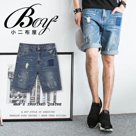 ☆BOY-2☆ 【NM1608】休閒潑漆刷色抓破牛仔褲短褲 0