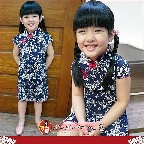 【水水女人國】~*超口愛Q版童裝旗袍*~復古藍。棉質印花小女生短袖短旗袍