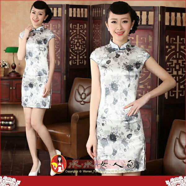【水水女人國】~特價399元~粉墨登場。彈力絲包袖改良式時尚短旗袍