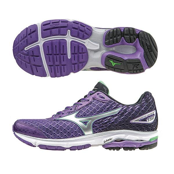 慢跑鞋的代名詞 WAVE RIDER 19 (W)   女慢跑鞋 J1GD160337(紫X黑X銀)S【美津濃MIZUNO】