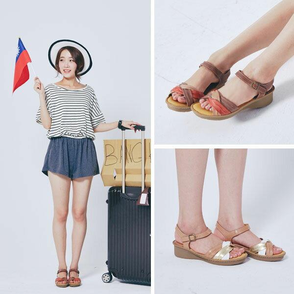 AppleNana。外銷日本絕對好穿軟牛皮扭轉配色真皮氣墊涼鞋。【QTR361280】蘋果奈奈 4