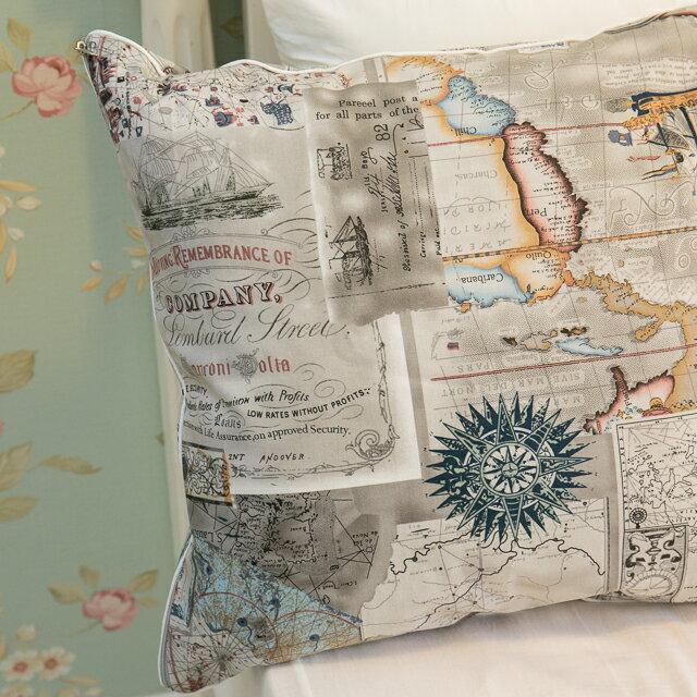 世界地圖抱枕  45cmx45cm 精選素材 復古 純棉 3