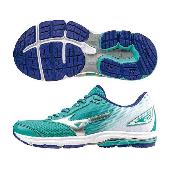 WAVE RIDER19 Jr. 一般型童鞋 K1GC162506(藍綠X銀X白)S【美津濃MIZUNO】