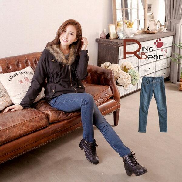 牛仔褲--顯瘦三角立釦鉚釘造型窄管牛仔長褲(S-XL)-N68眼圈熊中大尺碼