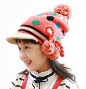 Kocotree◆秋冬可愛彩色圓點拚色立體毛球麻花辮帽檐毛線帽-紅色
