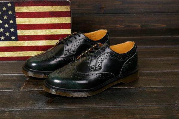 【九十度馬丁管】【兩日到貨】【免運】【4孔擦色綠】【牛津鞋】Dr. Martens馬丁馬汀靴子