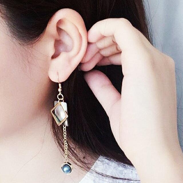 不對稱黑蝶貝幾何黃銅珍珠耳環 耳夾 ~  好康折扣