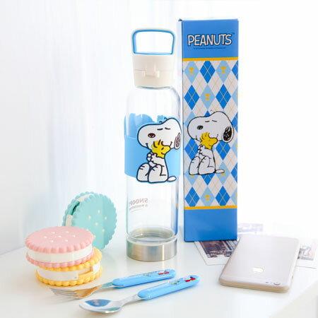 正版史奴比樂行隨身瓶 550ml 水杯 隨行杯 隨身杯 玻璃杯 杯子 Snoopy 史奴比【B061434】