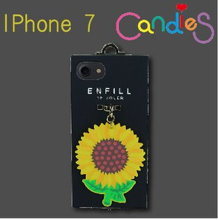 【Candies】手提系列手機殼黑底(向日葵)-IPhone 7(預購)