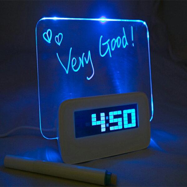 【酷創意】方型款螢光屏發光留言板時鬧鐘 LED萬年曆背光燈售 line 全家 7-11