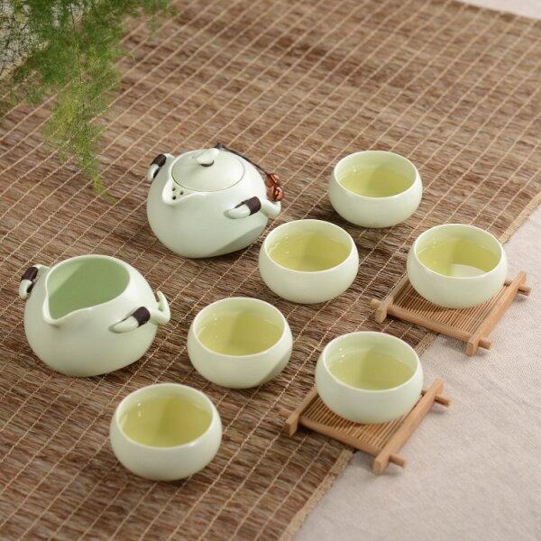 【自在坊】企鵝壺款  (一壺一茶海 六杯禮盒組)  定窯 茶具 冰裂開片功夫茶具 品茗杯 茶壺 茶海  自在坊