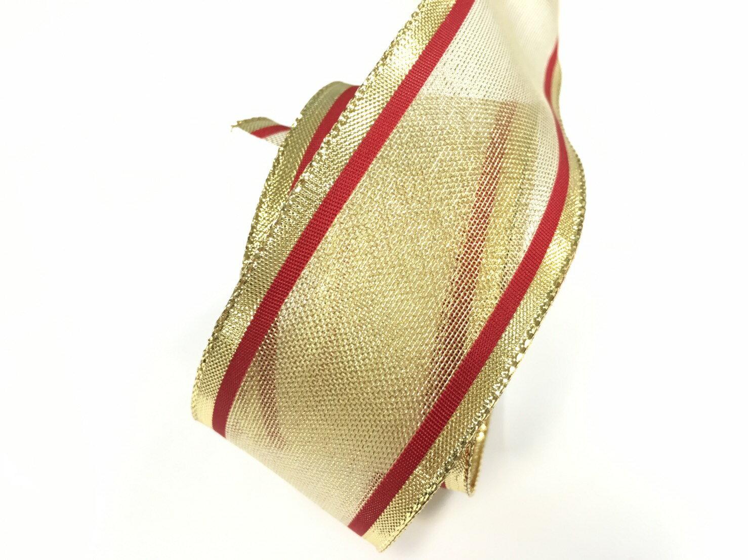 金屬彩邊緞帶+鐵絲緞帶 38mm 3碼 (4色) 2