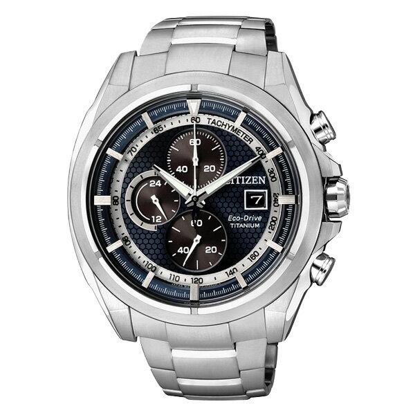 CITIZEN星辰CA0551-50L競速鈦光動能計時腕錶/藍面45mm