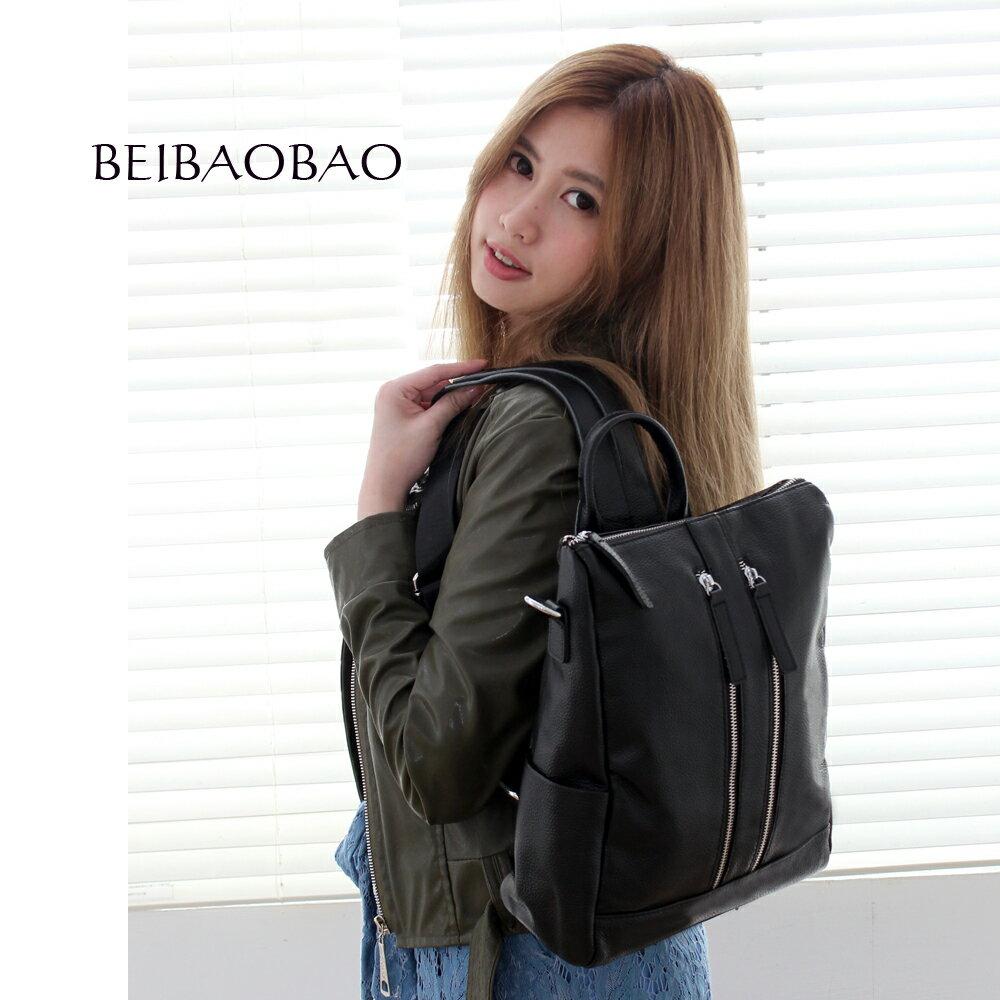 【BEIBAOBAO】韓劇同款時尚真皮後背包(時尚黑) 0