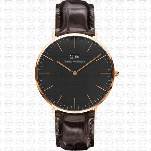 40MM 0128DW 黑錶面 玫瑰金邊 真皮錶帶 瑞典正品代購 Daniel Wellington 男錶手錶腕錶 0