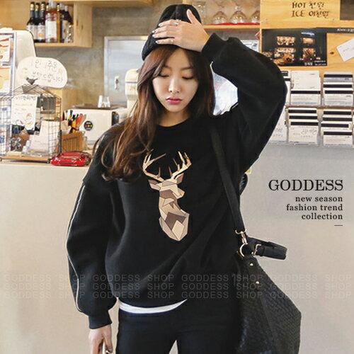 均一價299~嘉蒂斯大學T 寬鬆麋鹿印花刷毛長袖大學T恤~071596~1色   ~  好