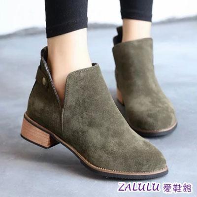 ☼zalulu愛鞋館☼ JE041 預購 韓版女神美腿超顯瘦深V開口低跟踝靴-偏小-黑/卡其/綠-36-39