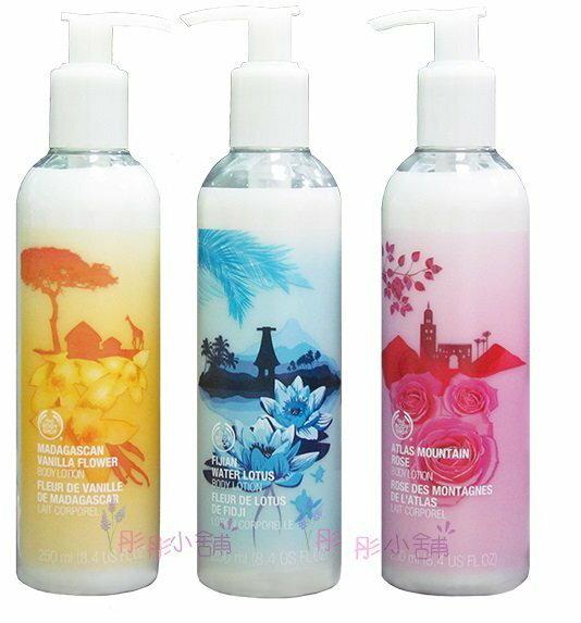 【彤彤小舖】The Body Shop 身體潤膚乳 馬達加斯香蘭 摩洛哥玫瑰 斐濟水蓮花 250ml 美國購入