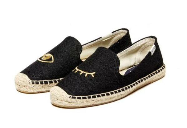 【Soludos】美國經典草編鞋-塗鴉系列草編鞋-黑色眨眼