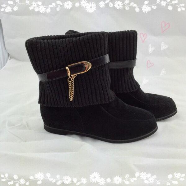 【TwinsLady】反折鍊飾低筒靴 黑色