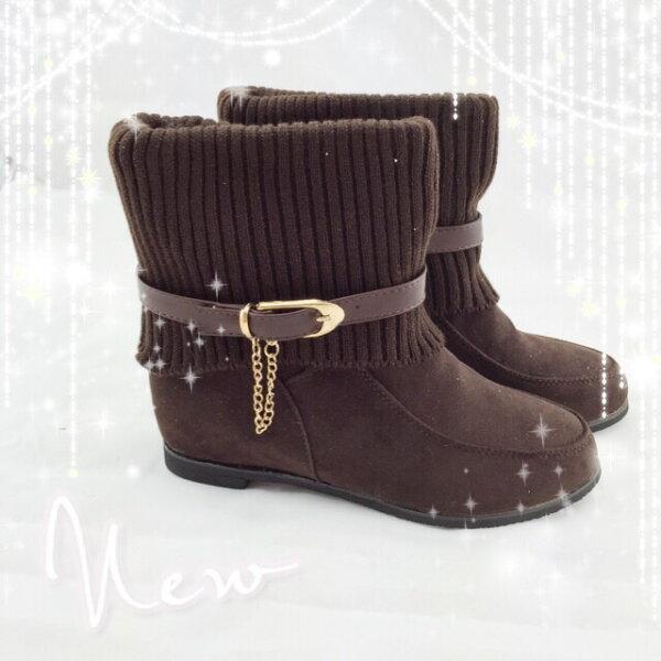 【TwinsLady】反折鍊飾低筒靴 咖色