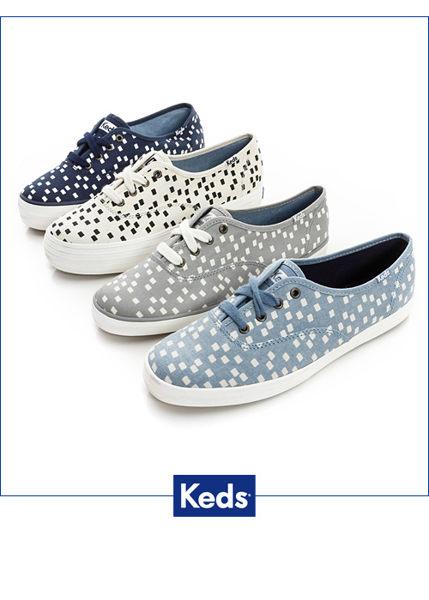 Keds 雪花片片綁帶休閒鞋-淺藍/方塊 3