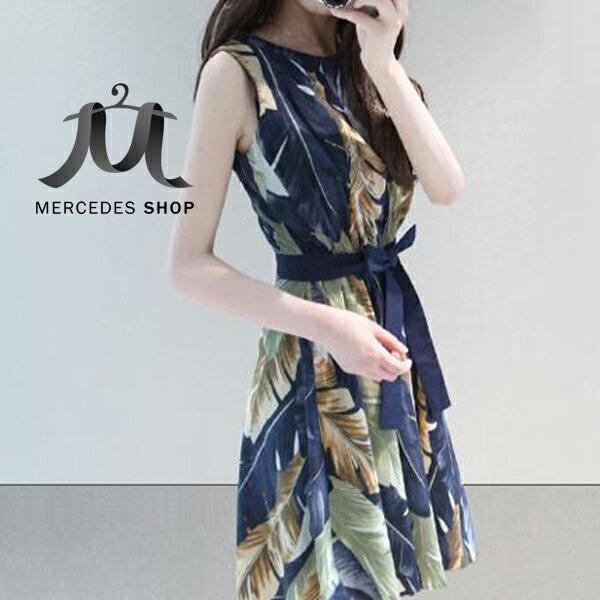 梅西蒂絲 -印花無袖洋裝-M-XL