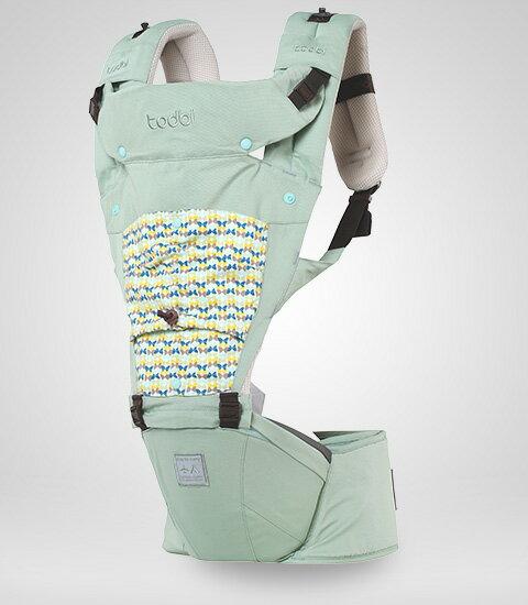 【限量贈市價$1200護頸枕】【安琪兒】韓國【Todbi】新一代有機棉氣囊坐墊式背巾(淺綠) 1