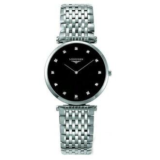 LONGINES L47094586嘉嵐石英超薄優雅真鑽腕錶/黑面33mm