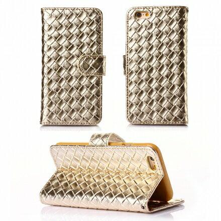 Apple iPhone 6 / 6s 時尚編織紋手機皮套 側掀磁扣支架式皮套 矽膠軟殼 多色可選 3