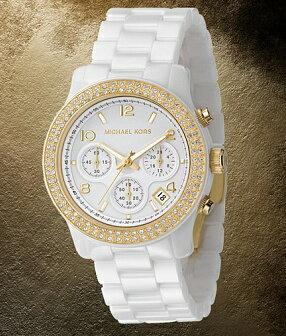 美國Outlet正品代購 MichaelKors MK 金色陶瓷 水鑽 三環 手錶 腕錶 MK5237 7