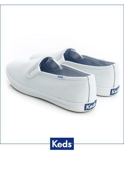 Keds 經典升級皮質休閒便鞋-白 2