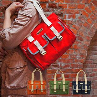 CORRE【CP802】復古帆布肩背包 馬卡龍綠/紅/藍/橘 0