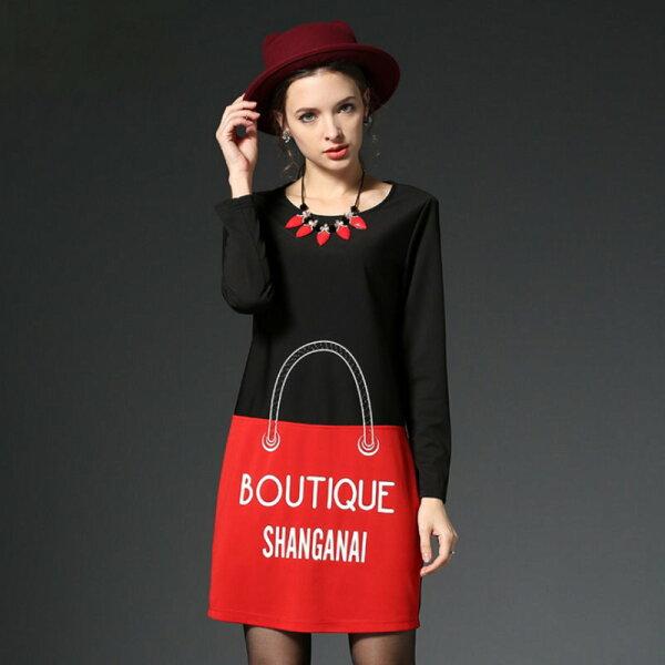 大尺碼 歐美時尚米奇風格長袖連衣裙洋裝L~5XL【紐約七號】A2-350