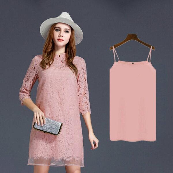 大尺碼 歐美氣質中國旗袍風蕾絲粉色洋裝XL~5XL【紐約七號】A2-408