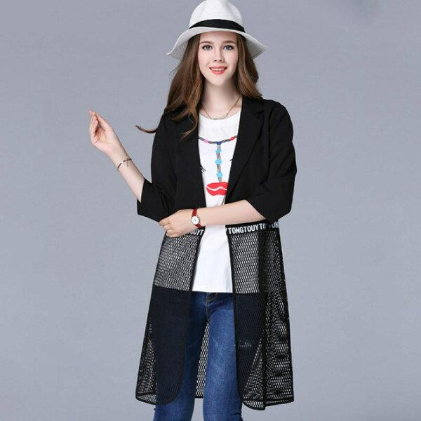 大尺碼 歐美秋季時尚個性拼接網格七分袖中長版七分袖外套XL~5XL【紐約七號】A2-569
