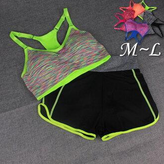 挖背繽紛內衣+短褲運動套裝5色M~L【紐約七號】S3-003