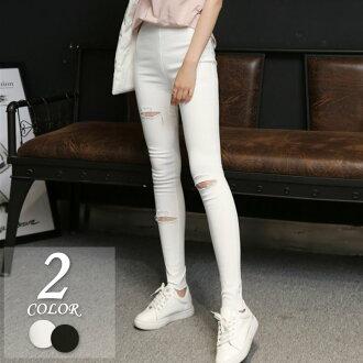 韓版學生必備超夯膝蓋破洞彈性緊身褲2色【紐約七號】Z-1670
