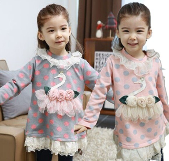 ~貝貝樂SHOW~秋 甜美公主優雅精緻天鵝刺繡蕾絲洋裝^~加厚刷絨^~韓國品牌^~灰色、粉