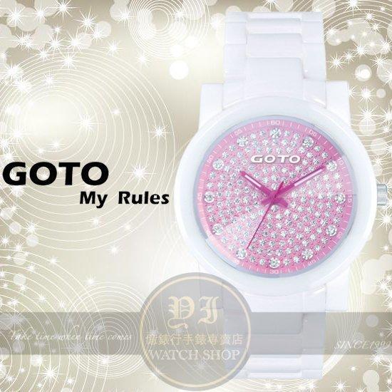 GOTO林逸欣代言星鑽系列閃亮陶瓷腕錶-白x粉紅/39mm GC0360B-22-8F1公司貨/禮物/情人節