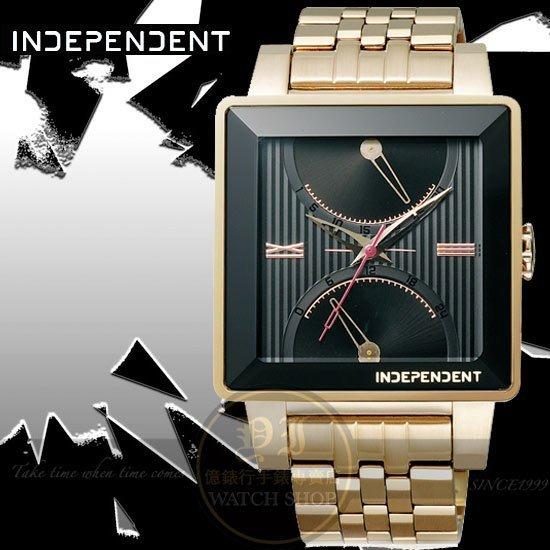 INDEPENDENT日本原創經典復古日曆逆跳情人節限量腕錶-IP金/37mm ITR21-5092公司貨