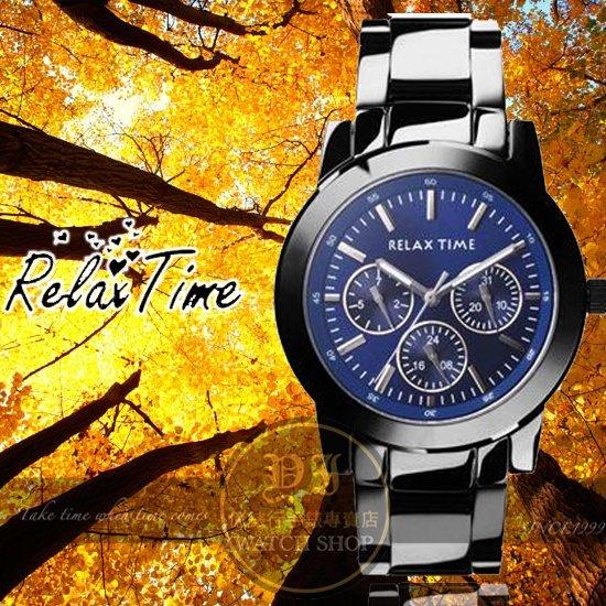 Relax Time關詩敏代言經典三眼錶款-藍/黑/38mm R0800-16-07公司貨/MIT/原創設計