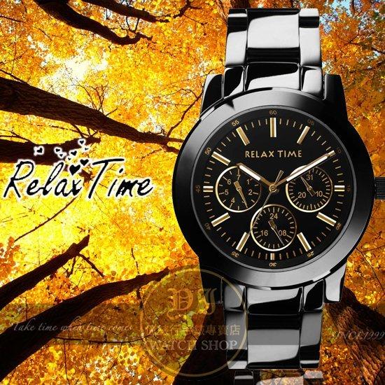 Relax Time關詩敏代言經典三眼錶款-金/黑/38mm R0800-16-21B公司貨/MIT/原創設計