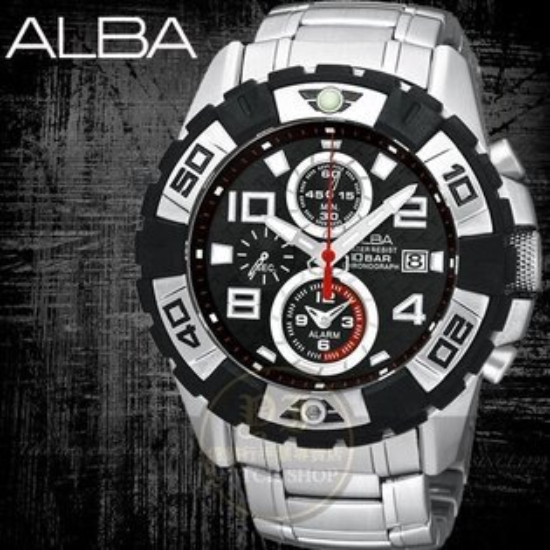 ALBA SignA強悍賽車手計時運動腕錶-黑/45mm AF3E45X/YM62-X219D公司貨