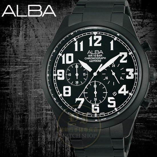 ALBA 楊祐寧代言 ACTIVE玩酷型男計時腕錶-IP黑/白/44mm/VD53-X170SD/AT3591X1公司貨/SEIKO/情人節
