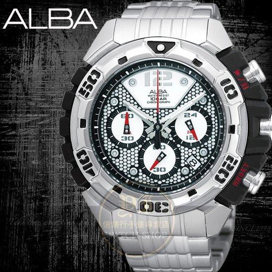 ALBA彭于晏代言FLAGSHIP雷神三眼計時腕錶/50mm 公司貨VK63-X003D/AU2025X