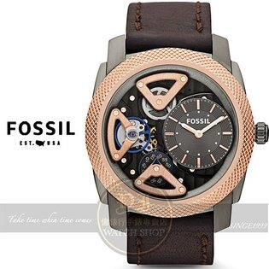 FOSSIL美國品牌 Machine Twist 雙機芯型男腕錶-玫瑰金x咖啡/45mm ME1122公司貨/禮物