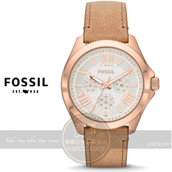 FOSSIL美國品牌Cecile名媛三環日曆真皮腕錶-玫瑰金/40mm AM4532公司貨/禮物/情人節