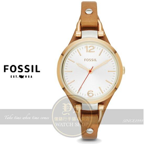 【億錶行】FOSSIL美國品牌Georgia俏麗女孩時尚腕錶--銀x金框/32mm ES3565公司貨/禮物